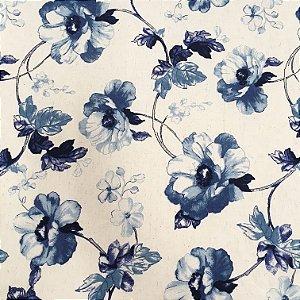 Tecido Linho Impermeabilizado Floral Azul e Cru - Mace 09