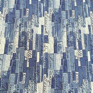 Tecido Linho Impermeabilizado Tijolinhos em Tons de Azul com Letras Pretas - Mace 10