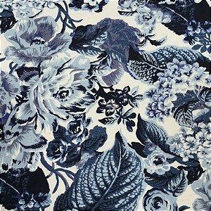 Tecido Linho Impermeabilizado Floral Azul, Azul Claro e Cru - Mace 12