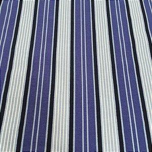 Tecido Linho Impermeabilizado Listrado Azul, Azul Claro e Preto - Mace 13