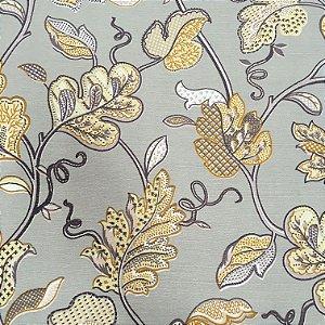 Tecido Linho Impermeabilizado Folhas Cinza e Amarelo - Mace 44
