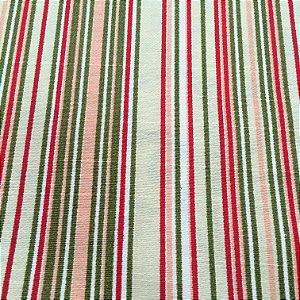 Tecido Linho Impermeabilizado Listrado Bege Claro, Vermelho e Fendi - Mace 53