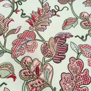 Tecido Linho Impermeabilizado Folhas Bege Claro, Salmão, Verde e Vermelho - Mace 54