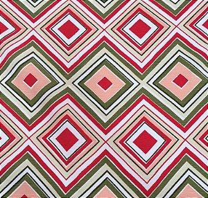 Tecido Linho Impermeabilizado Geométrico Vermelho, Fendi e Salmão - Mace 55