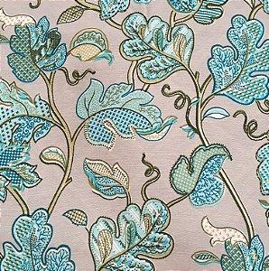 Tecido Linho Impermeabilizado Folhas Cinza Claro, Azul Claro e Verde - Mace 36