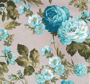 Tecido Linho Impermeabilizado Floral Cinza, Verde e Azul Claro - Mace 38