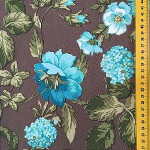 Tecido Linho Impermeabilizado Floral Marrom, Azul Claro e Verde - Mace 39