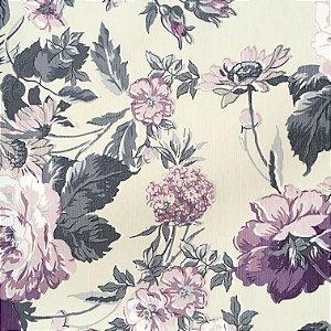 Tecido Linho Impermeabilizado Floral Creme, Roxo e Cinza - Mace 59
