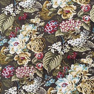 Tecido Linho Impermeabilizado Floral Marrom, Amarelo e Verde - Mace 24