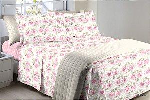 Jogo de Cama 150 fios Floral Branco Creme Rosas Dena - Queen 4 peças Corttex