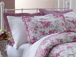 Colcha Boutis Rosas Pink, Branco Kislen Queen 3 peças Corttex