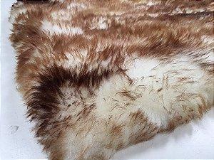 Tapete pele de carneiro legítimo - Muito macio - Cor bege Chamuscado - 0,50 x 1,80 metros