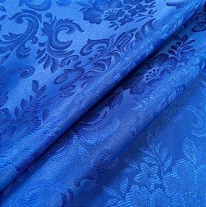 Tecido Jaquard Adamascado Floral com 2,80 mts de largura Azul Royal