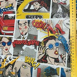Tecido Corino Gibi Colorido Retro Vintage