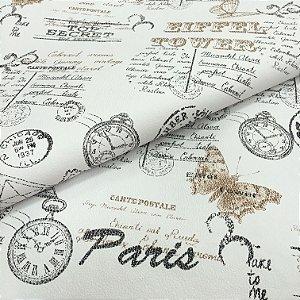 Tecido Corino Paris Eiffel fundo Bege e Preto