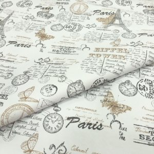 Tecido Corino Paris Eiffel fundo Branco, Bege e Preto