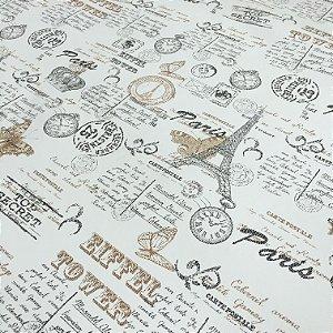 Tecido Corino Paris Eiffel Branco, Bege e Preto