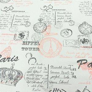 Tecido Corino Paris Eiffel Off white , Vermelho e Preto