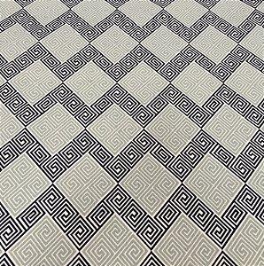 Tecido Linho Flame Geometrico Azul, Cinza e Branco