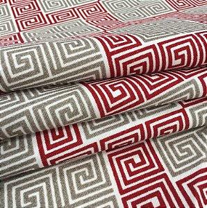 Tecido linho Flame Geometrico Branco, Bege e Vermelho