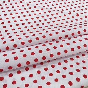 Tecido Tricoline Chita Patchwork Poá Branco e Vermelho  - Gramado 5