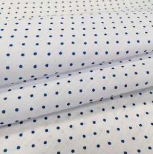 Tecido Tricoline Chita Patchwork Mini Poá Branco e Azul - Gramado 11