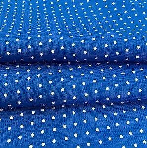 Tecido Tricoline Chita Patchwork Mini Poá Azul e Branco - Gramado 12