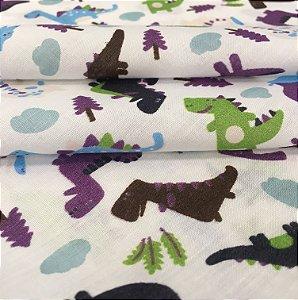 Tecido Tricoline Chita Patchwork Dinossauros Coloridos II Fundo Branco - Gramado 30