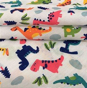 Tecido Tricoline Chita Patchwork Dinossauros Coloridos I Fundo Branco - Gramado 31
