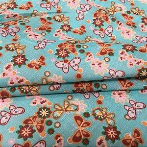 Tecido Tricoline Chita Patchwork Borboletas e Flores Fundo Verde Tiffany - Gramado 32