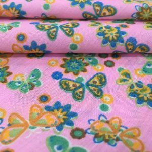 Tecido Tricoline Chita Patchwork Borboletas e Flores Fundo Rosa - Gramado 34