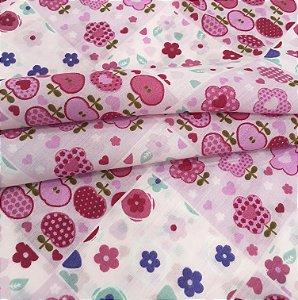 Tecido Tricoline Chita Patchwork Frutas e Flores Rosa, Lilás e Branco - Gramado 38