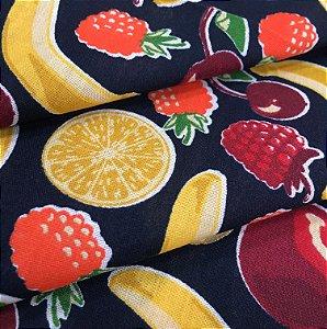 Tecido Tricoline Chita Patchwork Frutas Fundo Azul Marinho - Gramado 44