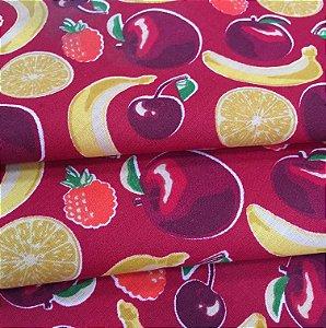 Tecido Tricoline Chita Patchwork Frutas Fundo Vermelho- Gramado 45