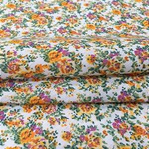 Tecido Tricoline Chita Patchwork Mini Floral Amarelo e Verde Fundo Creme - Gramado 53