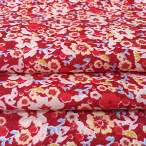 Tecido Tricoline Chita Patchwork Mini Floral Creme e Bege Fundo Vermelho - Gramado 54