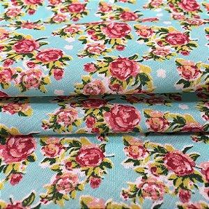 Tecido Tricoline Chita Patchwork Mini Floral Roxo Fundo Verde Tiffany - Gramado 55
