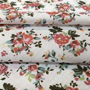Tecido Tricoline Chita Patchwork Mini Floral Rosa e Verde Fundo Verde Branco  - Gramado 57