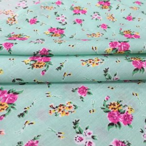 Tecido Tricoline Chita Patchwork Flores Fundo Verde Tiffany - Gramado 59