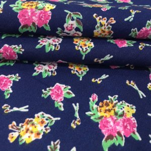 Tecido Tricoline Chita Patchwork Flores Fundo Azul Marinho - Gramado 60