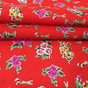 Tecido Tricoline Chita Patchwork Flores Fundo Vermelho - Gramado 61