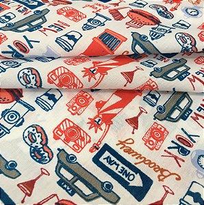 Tecido Tricoline Chita Patchwork Estilo New York Vermelho e Azul - Gramado 66