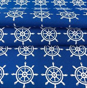 Tecido Tricoline Chita Patchwork Leme Clássico Fundo Azul - Gramado 72