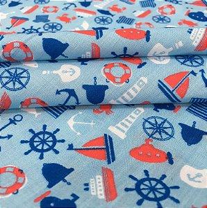 Tecido Tricoline Chita Patchwork Estilo Marinha Leme e Ancoras Fundo Azul - Gamado 73
