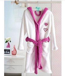 Roupão Infantil Bordado Branco Rosa Cuore - Tamanho G - Corttex