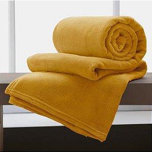 Manta Solteiro Amarela Microfibra Corttex Home Design 2,00 x 1,50 mts