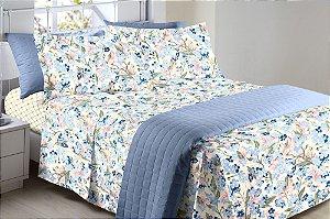 Jogo de Cama Solteiro 150 fios Floral Tons de Azul Séfora 3 peças Corttex