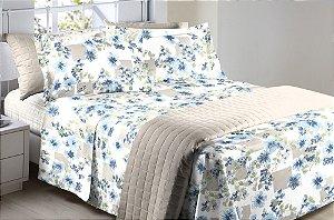 Jogo de Cama Casal 150 fios Floral Azul Madalena B - 4 peças Corttex