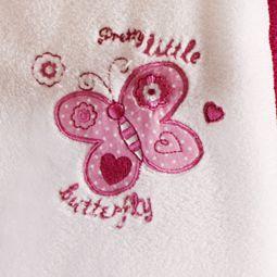 Manta Bebê Bordada Microfibra Branca com Borboleta 1,00 x 0,70 cm