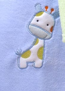 Manta Bebê Bordada Microfibra Azul com Girafa 1,00 x 0,70 cm